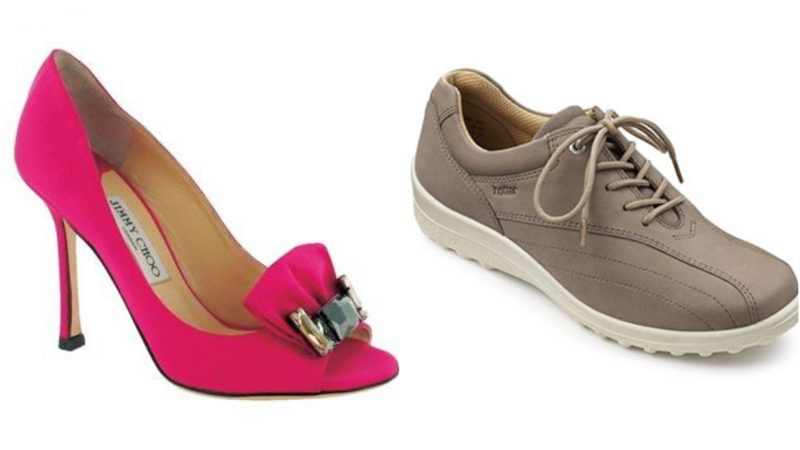 Jimmy Choo stiletto beside sensible walking shoe