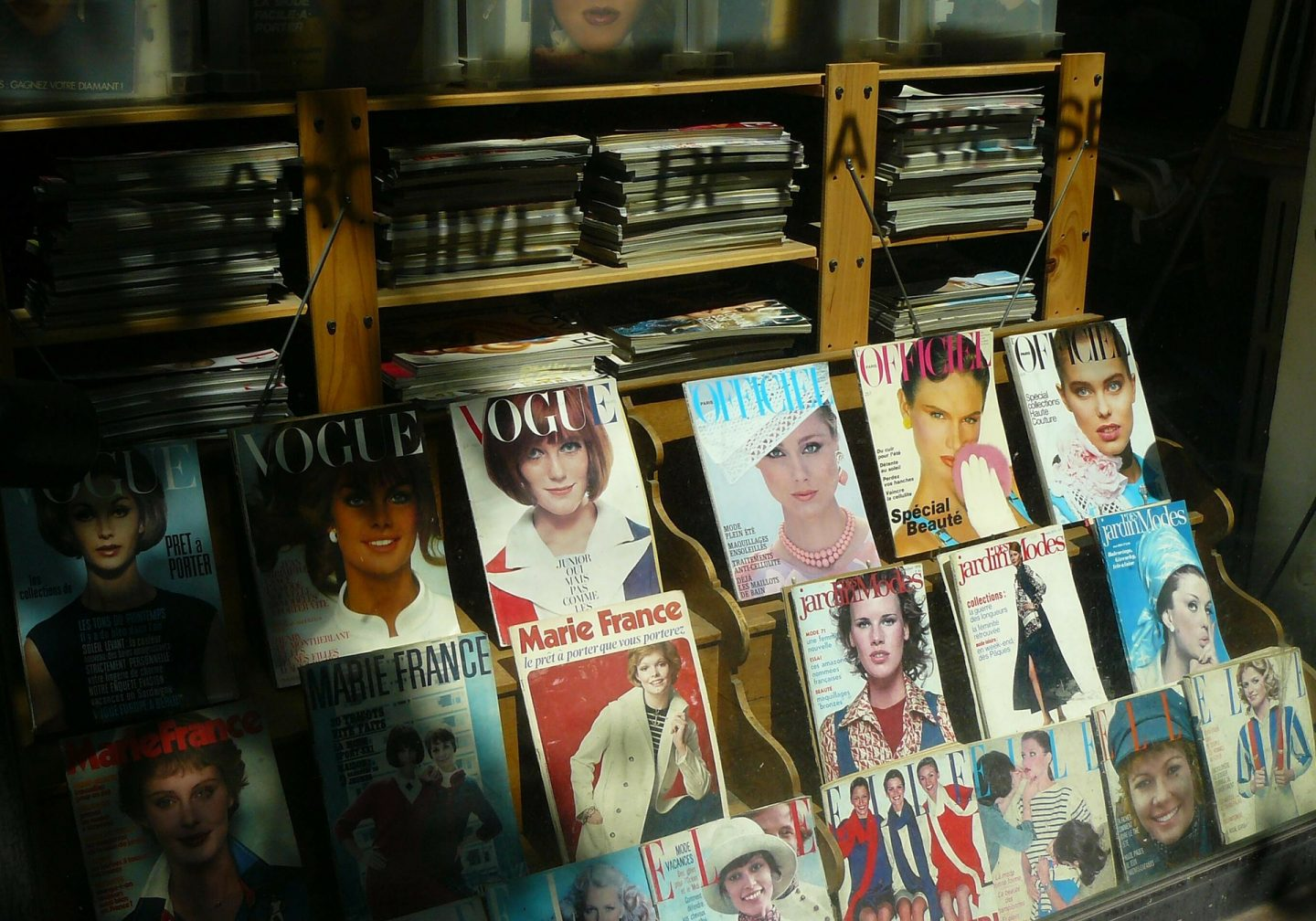 A newspaper stand showing lots of magazine