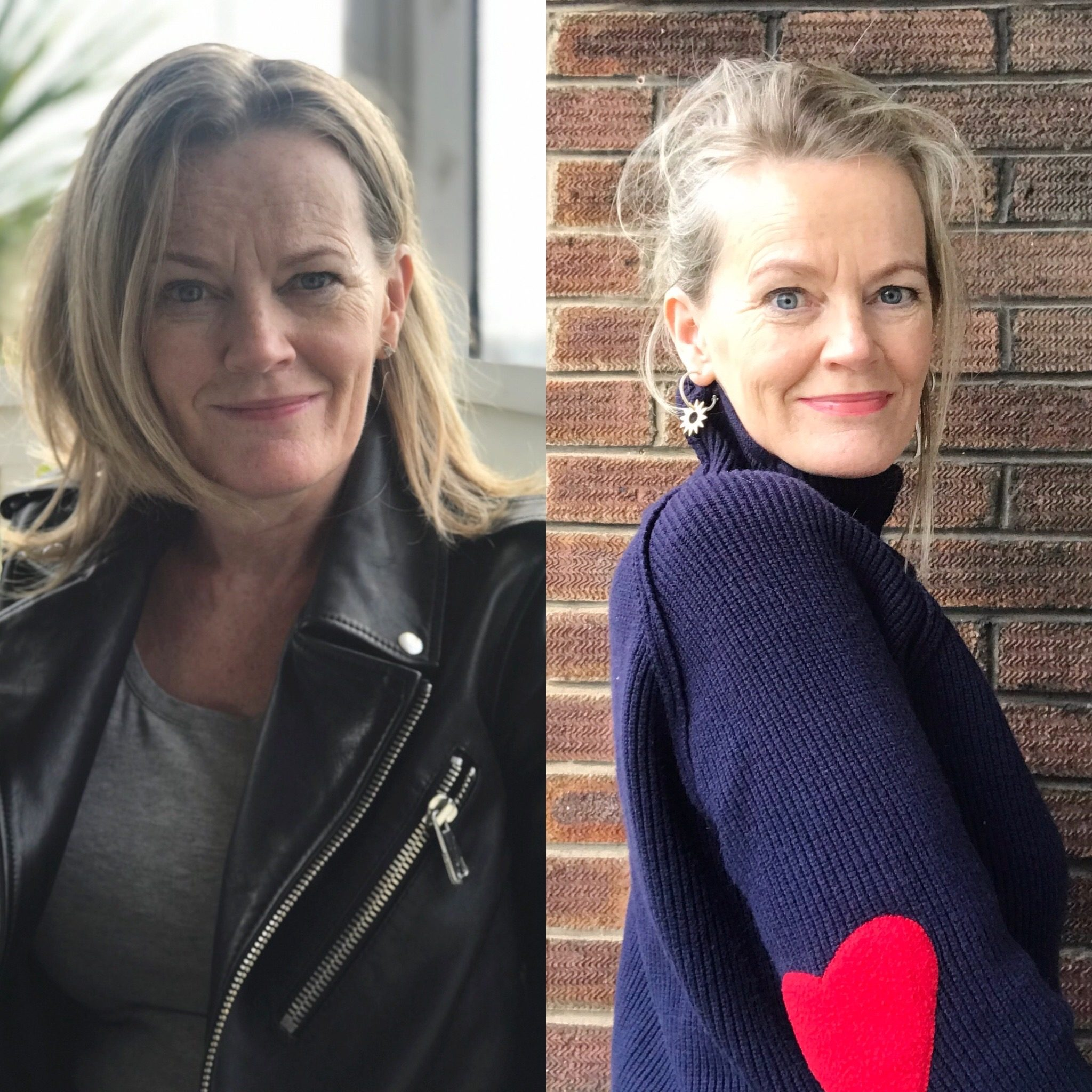 2 head and shoulder photographs of an attractive midlife woman