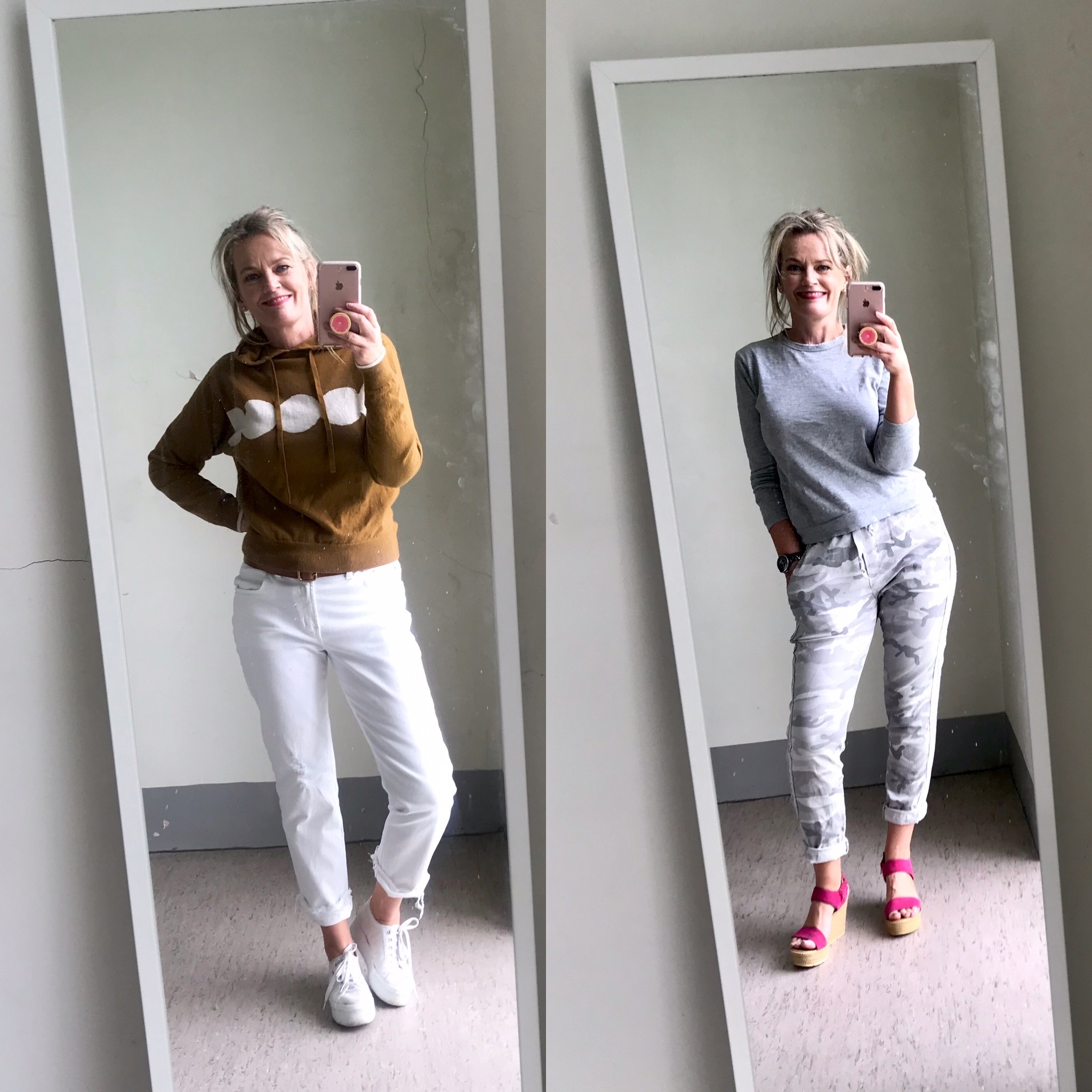 2 full length mirror selfies of an attractive woman